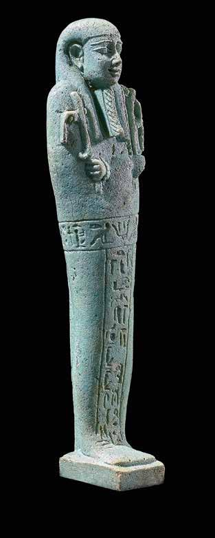 Ushebti for Horudja Royal seal bearer Green faience with incised