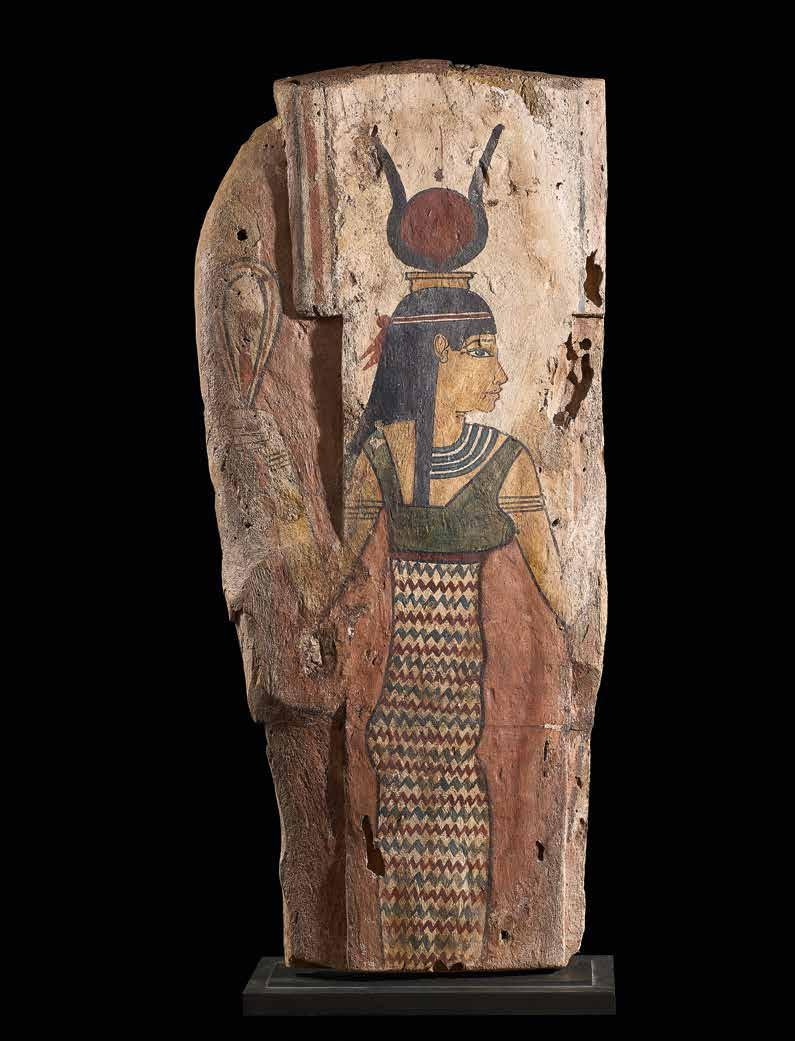 39 Sarcophagus back panel Representation of the goddess Hathor-Isis-Nut Wood with original polychromy