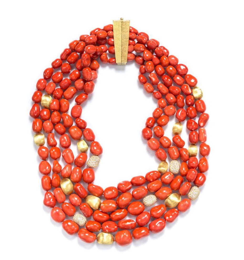 Henry Dunay Lot 475 An 18 Karat Yellow Gold, Coral and Diamond Multi Strand Necklace, Henry Dunay, consisting of five strands of graduated tumbled orange red coral beads measuring approximately 8.