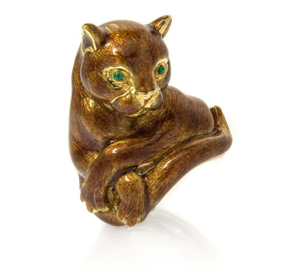 David Webb Lot 398 An 18 Karat Yellow Gold and Polychrome Enamel Cat Ring, David Webb, depicting a cat in repose, accented