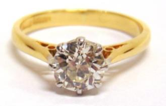 8g gross 300-350 3 A DIAMOND RING stamped '18ct' and 'Plat', the two brilliant cuts, totalling approximately 0.9 carats, in a mount for three stones, finger size M, 2.