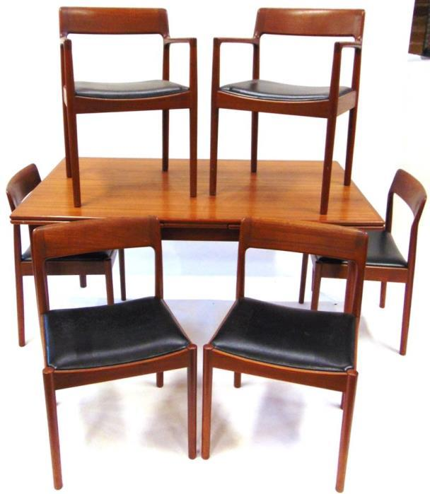 Lot 378 Lot 375 375 A 1960S DANISH TEAK DINING ROOM SUITE comprising draw-leaf table 145cm long (266cm long with both leaves extended) 90cm deep 73cm high; set