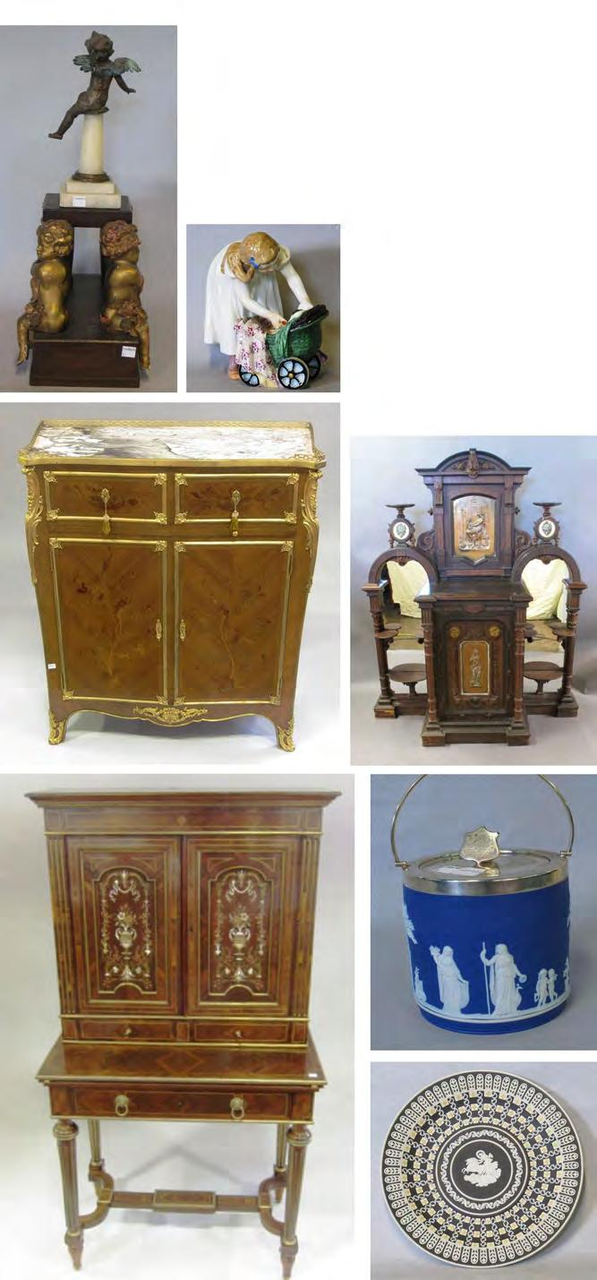 Peachtree & Bennett 12 78 METAL AND WOOD PUTTI GARNITURE 80 ROSEWOOD BONHEUR DU JOUR fitted with two mother of pearl and specimen wood Comprised of 19th century elements, a pair of inlaid doors above