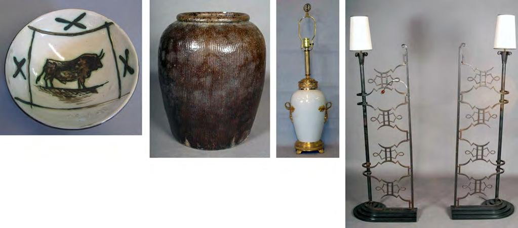 Peachtree & Bennett 38 292 282 TURNED COLUMN FLOOR LAMP: Black lacquered with chinoiserie decoration.62 H $75 - $125 290 286 283 WROUGHT IRON AND ENAMEL DECORATED FLOOR LAMP: Column form.
