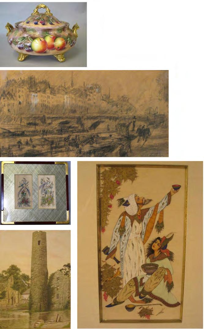 7 27 FRAMED PAINTINGS 28 PAIR OF PERSIAN ON IVORY PAINTINGS ON IVORY Two miniature ink and color Ink, color, and gilt depicting a man and paintings on ivory depicting birds, woman with various