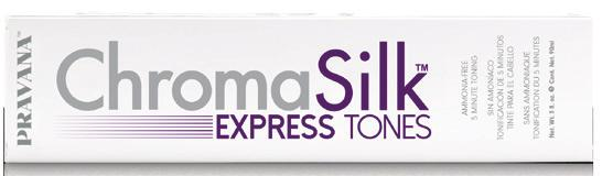 CHROMASILK EXPRESS TONES 8 fast-acting, ammonia-free toners that deliver lustrous, long-lasting tone in under 5 minutes. 1. Mix 1 part Express Tones : 1½ parts PRAVANA Zero Lift. 2.