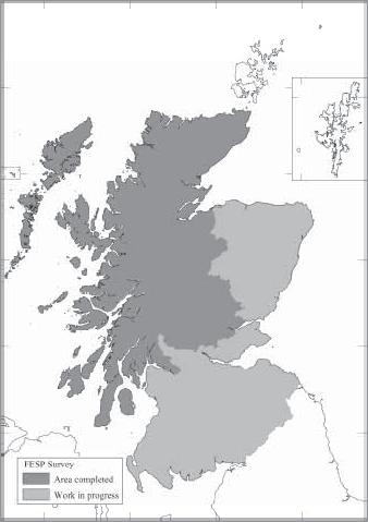 RCAHMS Fig 38. First Edition Survey Project: map of progress to October 2000. Fig 39. Historic Landuse Assessment Project: map of areas surveyed.