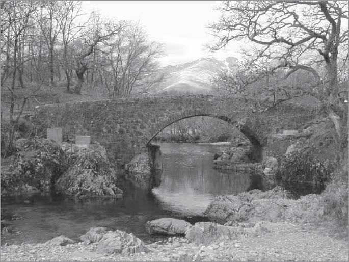 ARGYLL AND BUTE Fig 4. Strae Bridge, Dalmally: looking W to Stob Diamh. 293) was found in woods just S of the bridge, and an iron horseshoe in the river bank just NE of the bridge. (SUAT DA01).