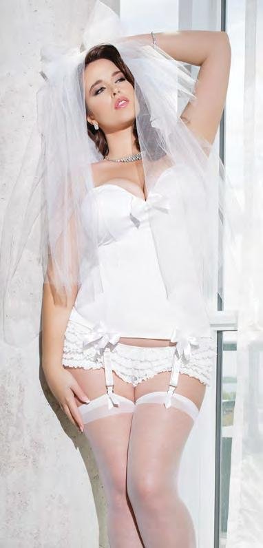 Features removable straps and garters, and three removable bows.
