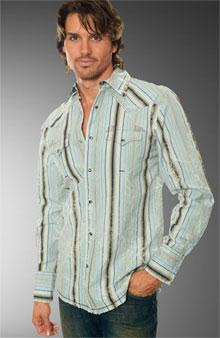 Shirt with convertible collar often closed with snaps.