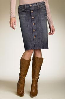 Denim skirt that is cut like a jean, can reflect the classic five-pocket with front