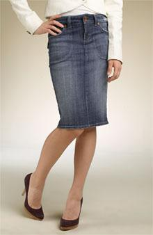 A skirt that is narrower at the hem than the hip and thus very