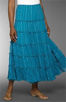 Tiered Skirt Layers of ruffles or bias-cut