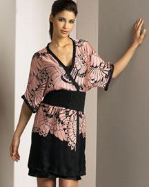 Originally, a traditionally Japanese wrap-style garment with wide, straight sleeves
