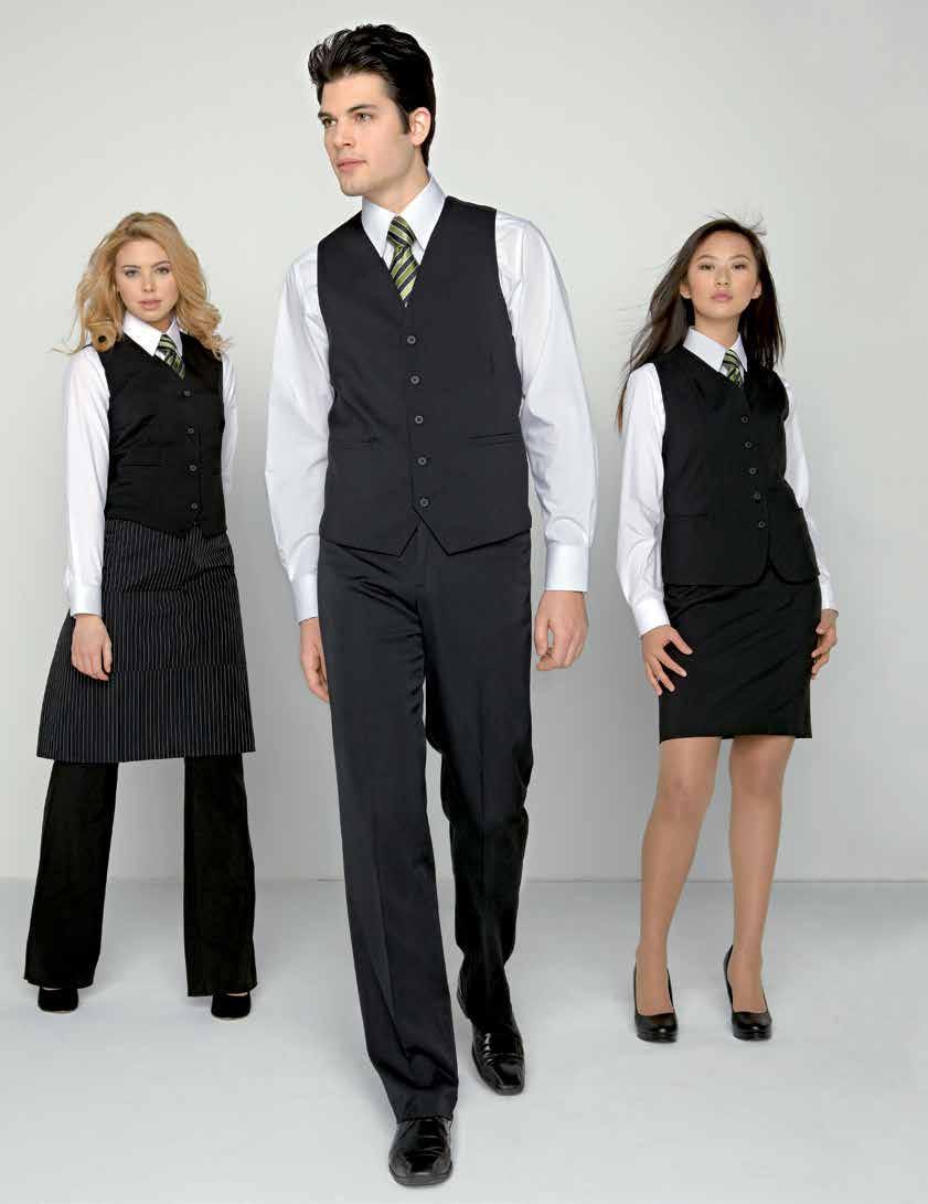 CLASSIC WAITER S VEST 1 2 3 1-5. WOMEN S CLASSIC WAITER S VEST Lined, 2 front and 2 inside pockets, 100% polyester comfort stretch, on front and back, washable. 2 to 18 (10416) 49.50 ea.