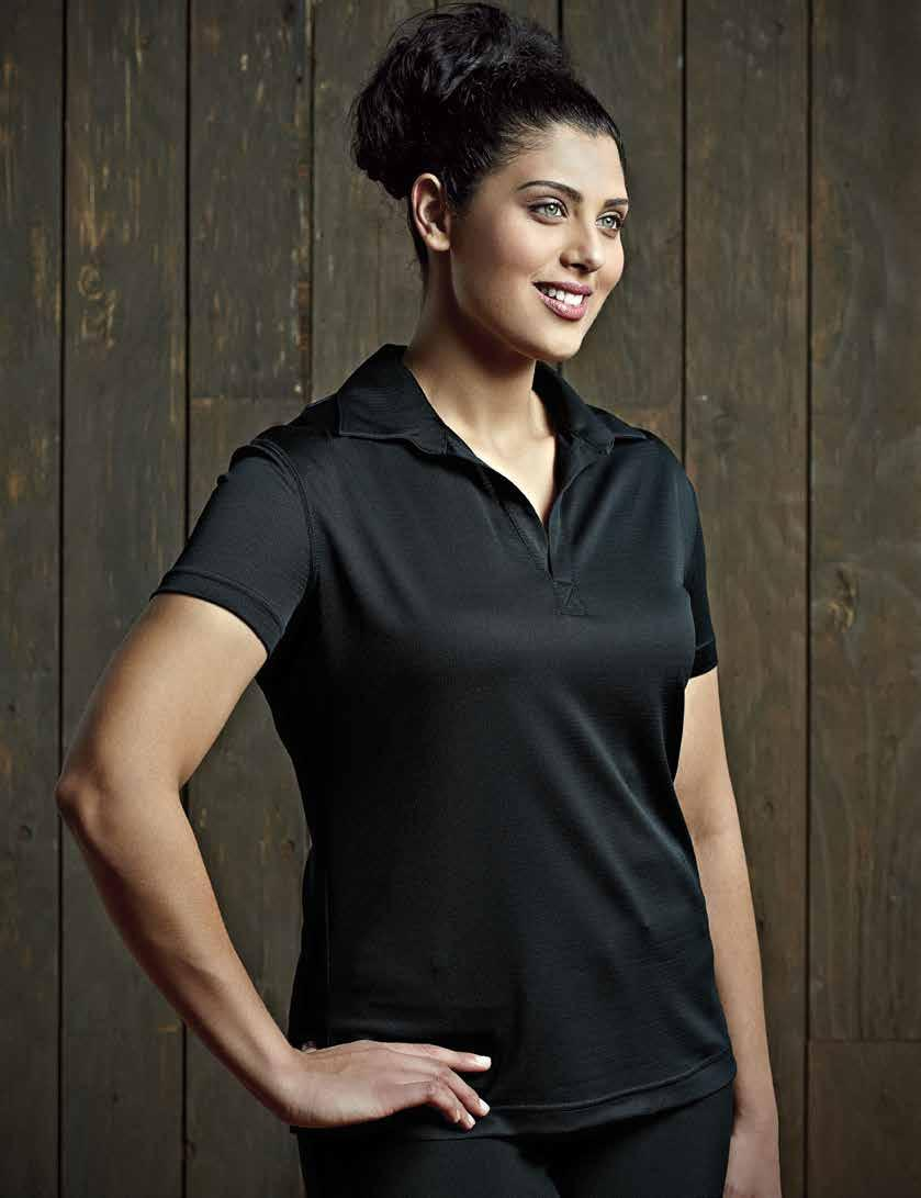 WOMEN S CHARLIE-T POLO 29 Semi-fitted cut, short sleeves, FIT4 finish moisture management fabric to keep skin cool and dry, comfortable, durable, 100% polyester microfiber, easy-care, washable.