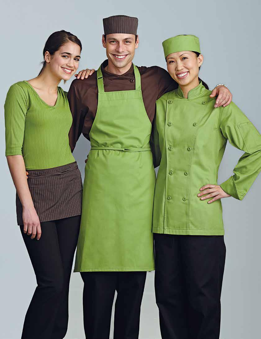 MEN S GUSTO CHEF COAT Chocolate. S to XL (810) 32 XXL (820) 37 XXXL (830) 43 GUSTO BIB APRON Apple green. Without a pocket. One size (622) 13 GUSTO CUISTO HAT Apple green.