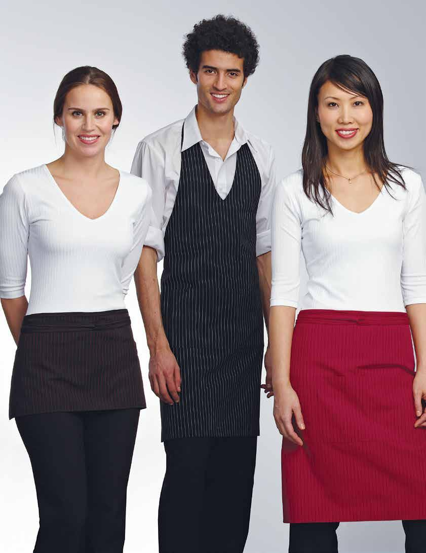 The gangster striped aprons each have a large divided pocket with a space for pens except for the waist apron which has 3 pockets, are a blend of 65% polyester and 35% cotton, and