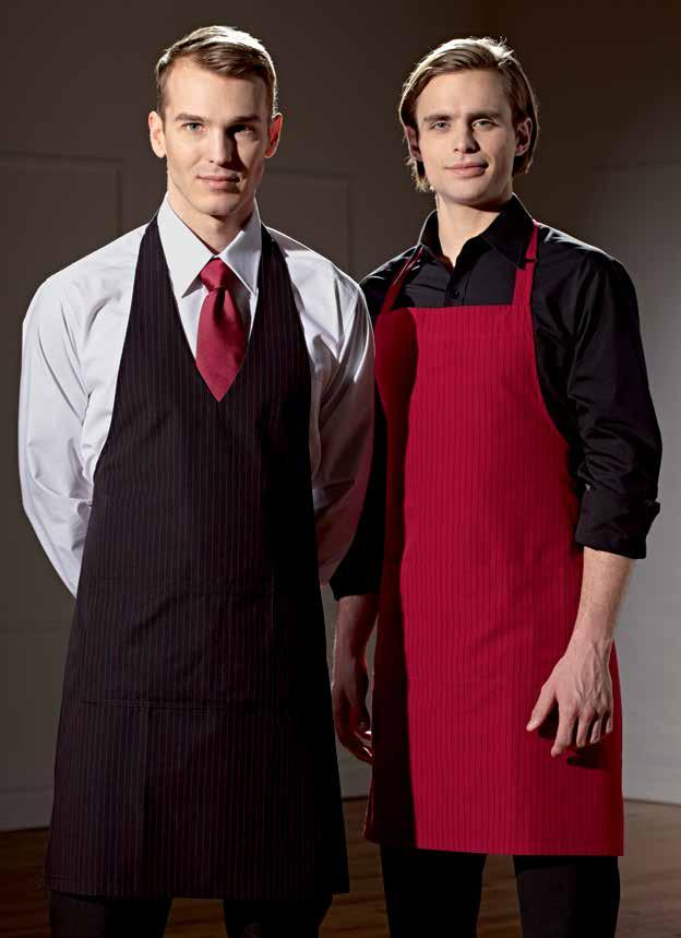 One Size (2009-AE2) 16 LIVERPOOL TIE Raspberry. One Size (2009-AE2) 16 V-NECK BIB APRON Black with raspberry gangster stripes.