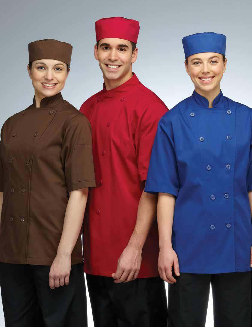 GUSTO CHEF COAT Long and short sleeves available, divided thermometer pocket on left sleeve, reversible closure, 10 plastic sewn on
