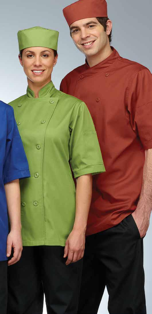 Chocolate, cherry, cobalt blue, apple green and saffron. Men s chef coat with cross-over collar. Short Sleeves. Long Sleeves.