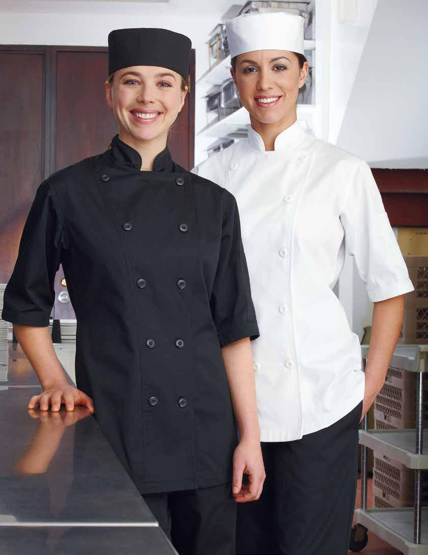 32 WOMEN S MISO SHORT SLEEVE CHEF COAT Divided thermometer pocket on left sleeve, mandarin collar, reversible closure, 10 plastic sewn on buttons