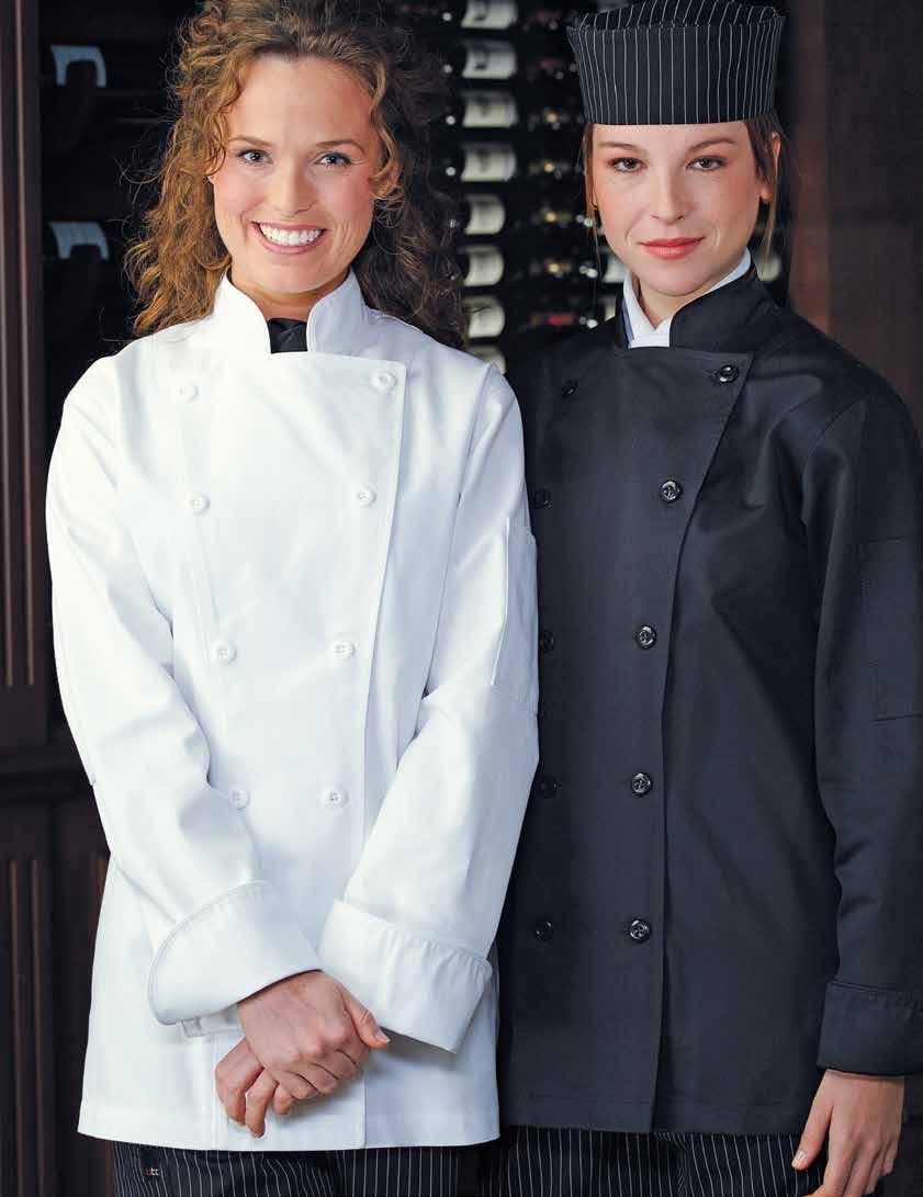 XS to XL (859) 32 XXL (869) 37 XXXL (879) 43 32 WOMEN S MISO LONG SLEEVE CHEF COAT Divided thermometer pocket on left sleeve, mandarin collar,