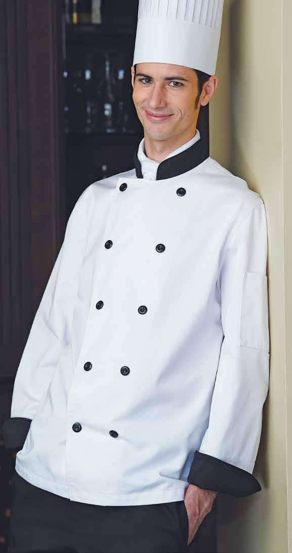 XS to XL (908) 32 XXL (918) 37 XXXL (928) 43 FIORI CHEF COAT Long and short sleeves available, divided thermometer pocket on left sleeve, mandarin collar, reversible closure, 10 black