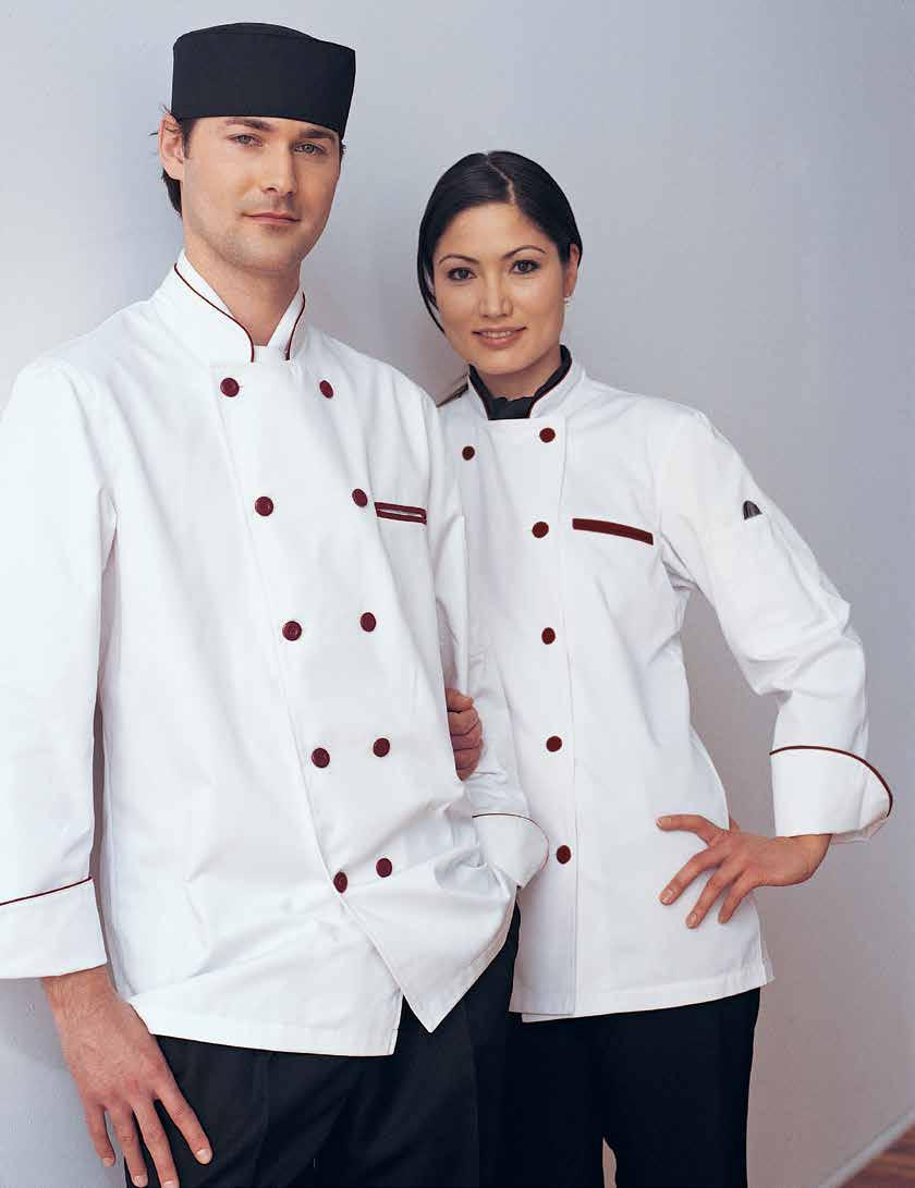 32 NEW YORK CHEF COAT Long and short sleeves available, divided thermometer pocket on left sleeve, mandarin collar, reversible closure, 10 plastic sewn on buttons of same colour as trim, underarm
