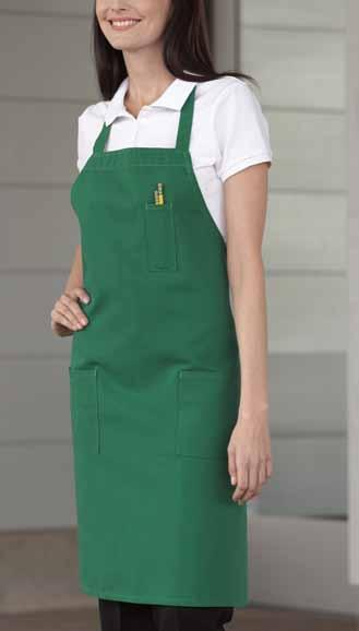 pencil patch-pocket bib 65/35 poly cotton twill - 7.5 oz. Comfortable and functional, this bib apron with extra long 40 ties has the added utility of a pencil pocket and two lower patch pockets.