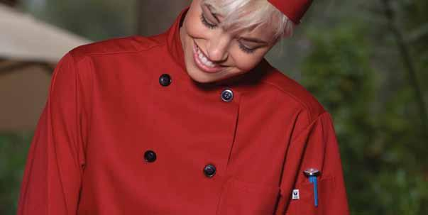 These fashionable, colorful chef coats with ten black buttons are a standout from our greentab line of recycled chef
