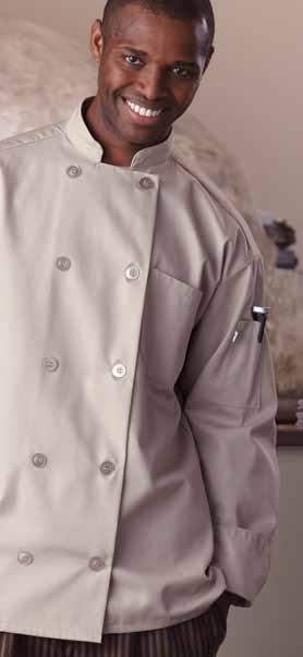 With ten dyed-to-match pearl buttons, this eco-friendly chef coat will take on anything you can throw at it, and its soft feel