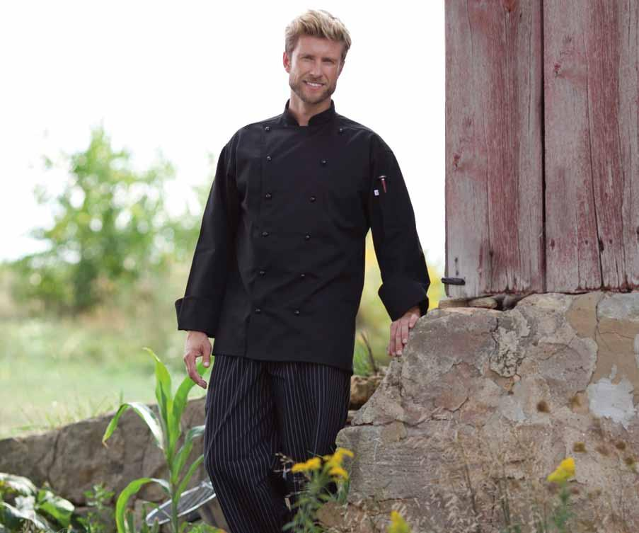 Shown with black & white pinstripe Yarn-Dyed Baggy Chef Pant #4003. legato Easy-care 65/35 poly cotton twill - 7.5 oz. Different yet practical.