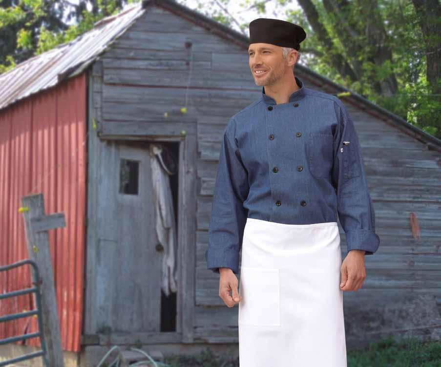 Shown with black Beanie #0156C, and white Full Bistro #3052. 46 UNCOMMON THREADS chambray chef coat 100% premium cotton twill - 6.5 oz.