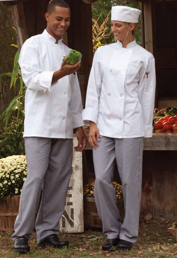 uncommon chef coat Easy-care 65/35 poly cotton twill - 7.5 oz. There s nothing basic about this basic coat.