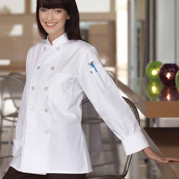 This extremely comfortable ten pearl button chef coat with flared bottom and side