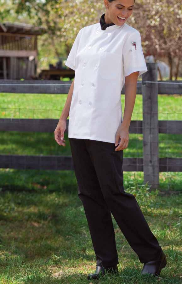 Shown with white Tahoe #0478, and black Neckerchief #0175. women s chef pant Recycled 65/35 poly cotton twill - 7.5 oz.