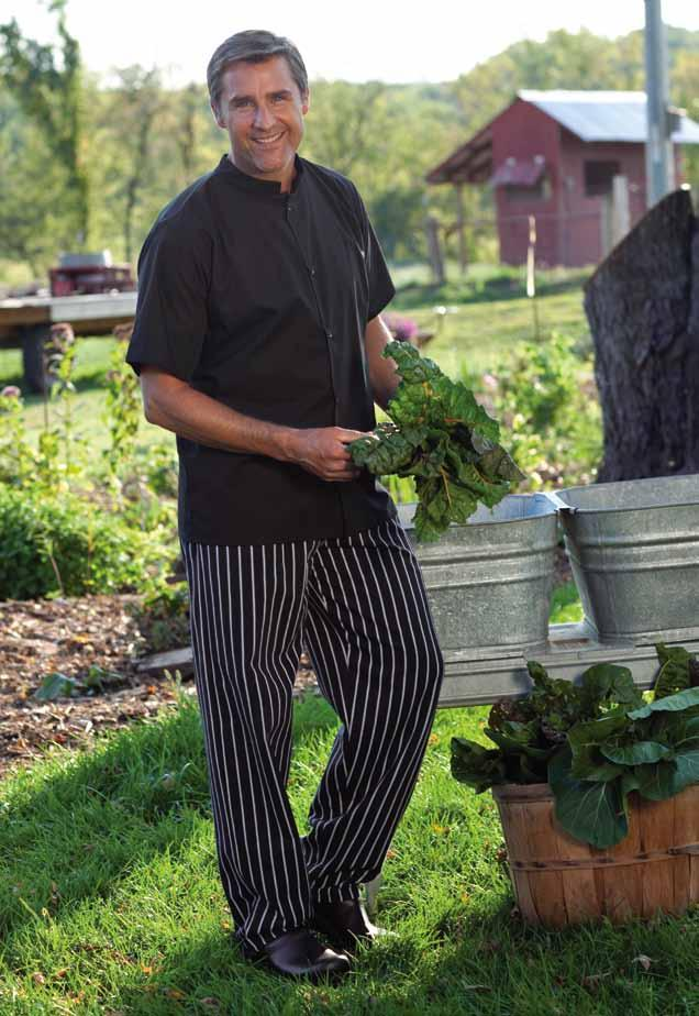 traditional chef pant Recycled 65/35 poly cotton twill - 7.5 oz., black Recycled Yarn-Dyed 65/35 poly cotton twill - 7 oz.