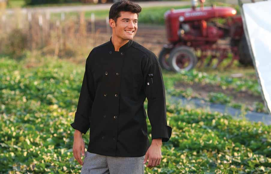 classic chef coat Easy-care 65/35 poly cotton twill - 7.5 oz.