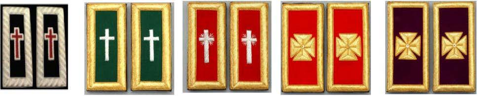 and Collar Crosses: The cross emblem for Sir Knights will be red passion cross with silver