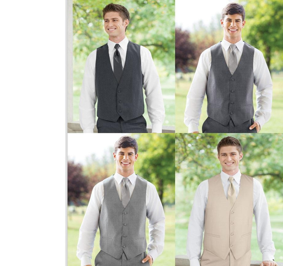 MATCHING FULLBACK VESTS Features: Create a contemporary 3-piece tuxedo look with an elegant matching vest. Adjustable back. Available in Men s and Boys size scales.