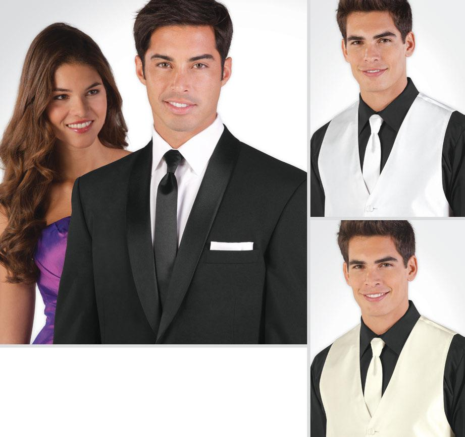 SKINNY TIES and Pocket Squares Instantly give your tuxedo a modern look with the Skinny Tie. Available in three colors, this tie can be worn with a variety of fullback vests.