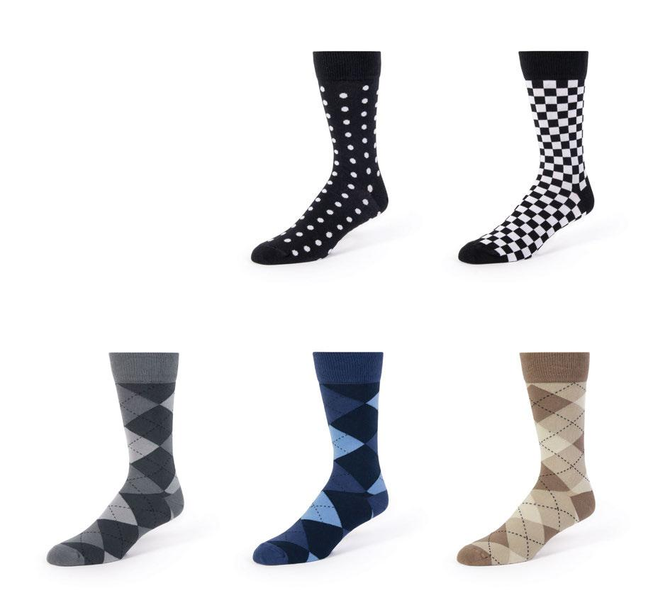 PATTERNED FORMAL SOCKS Patterned formal socks coordinate well with many colors of tuxedos and suits including black, grey, navy, slate blue and tan.