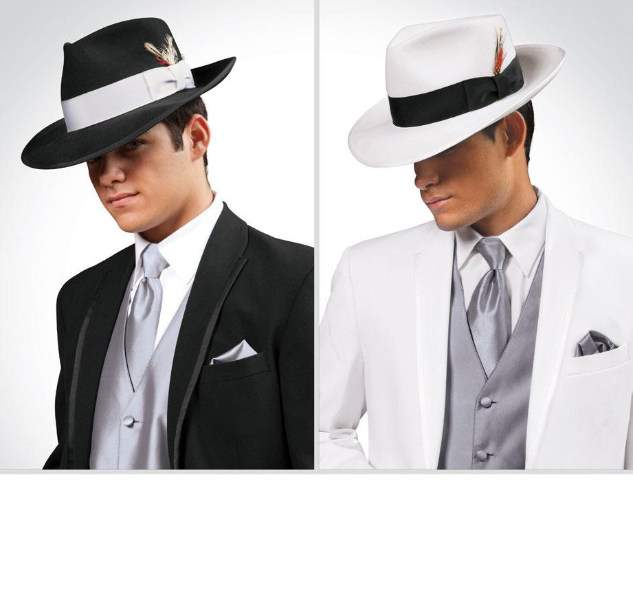 (A) (B) Coat Style: 842 Coat Style: 742 FEDORA HATS Available in Black and White (A) Black Fedora Hat with White Band (B) White Fedora Hat with Black Band MEN S HTF- HTW- BOYS HFB- HW-- Hat Sizing: