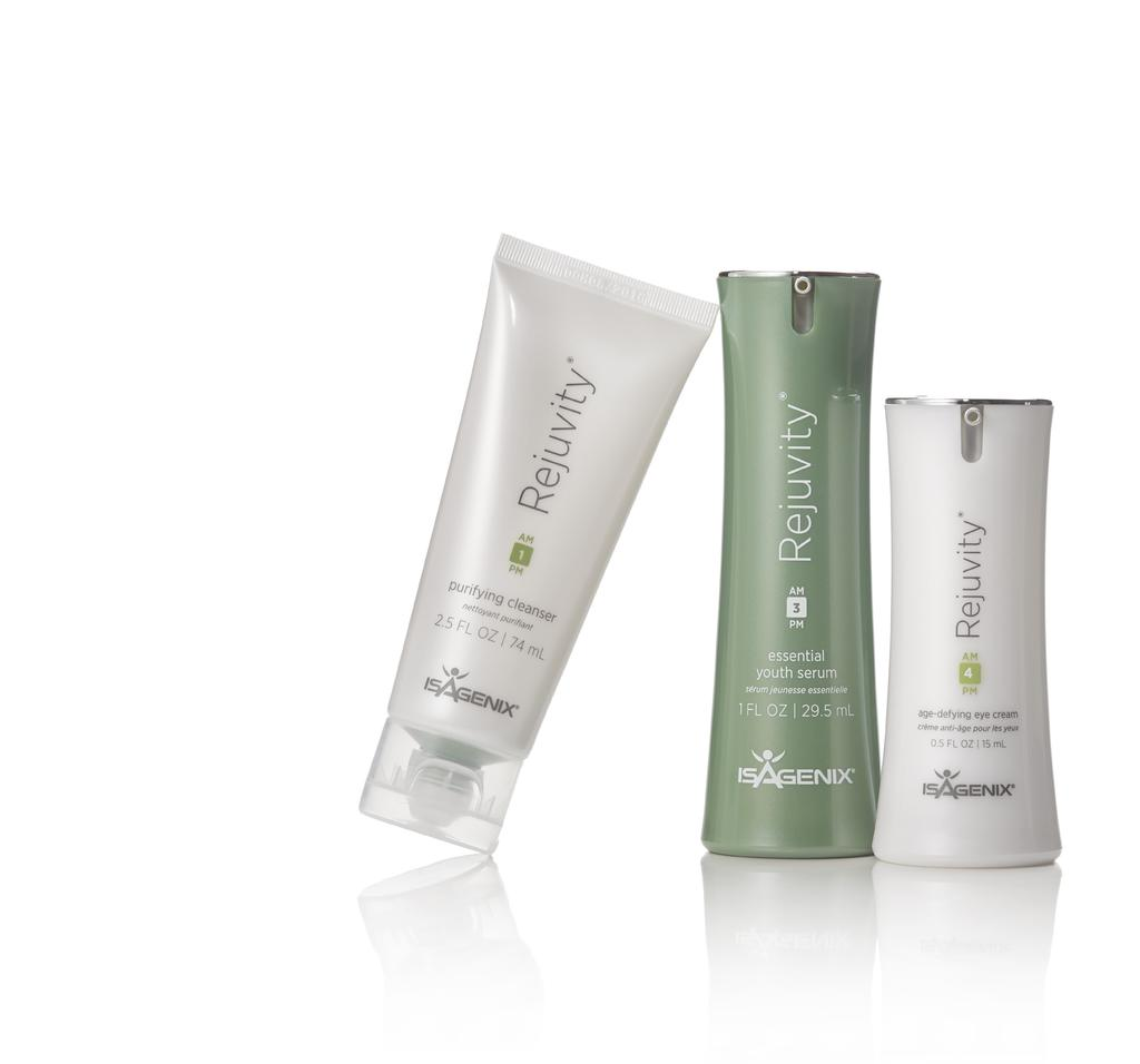 All seven Isagenix Rejuvity skincare products were tested by dermatologists and toxicologists and found to be of superior quality and free of preservatives, artificial