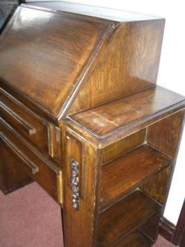 "suitcase 89 cm (35"") carved oak bureau"