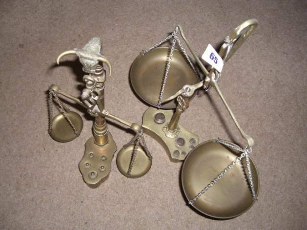 Two sets of small brass weighing