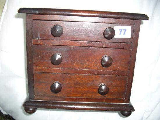 Small Edwardian three drawer jewellery