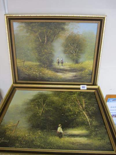 Two framed oil paintings by Les