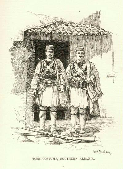Albanian warriors wearing traditional